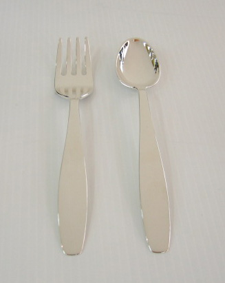 Sterling silver silver baby spoon and fork for Sterling silver baby spoon and fork
