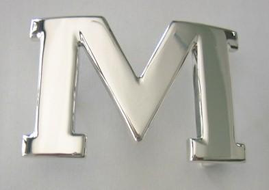 Sterling Silver Letter M Silver Belt Buckle